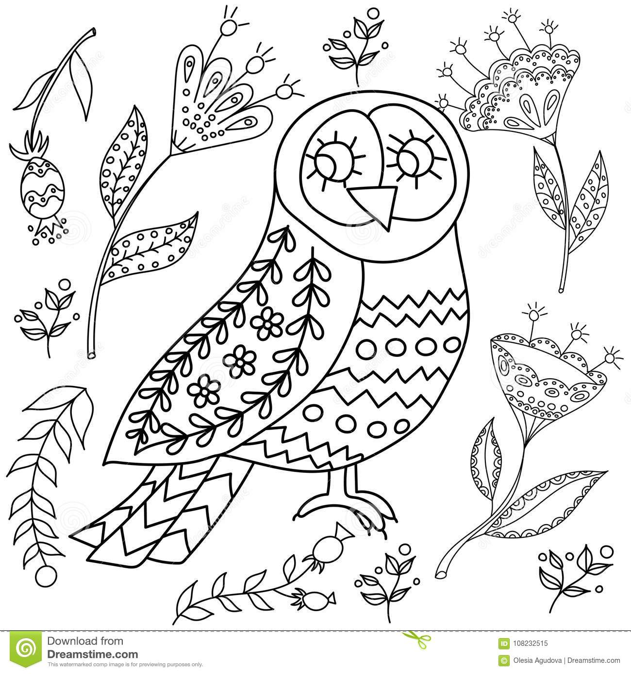 Coloring Book Fol Adults Folk Set Vector Blask And Whit Illustration With Beautiful Birds Flowers Scandinavian