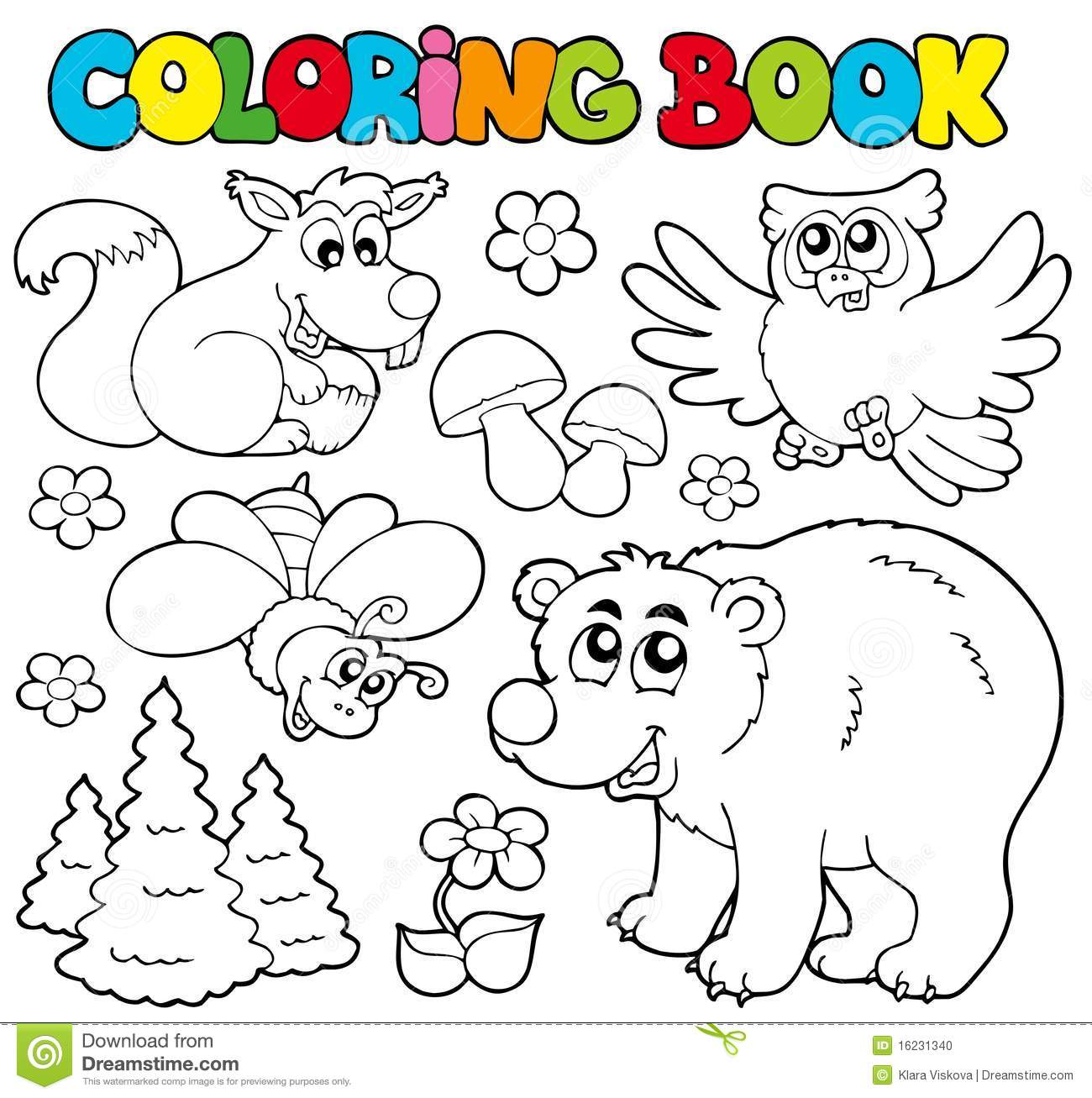 Coloring Book With Forest Animals 1 Stock Vector - Illustration of ...