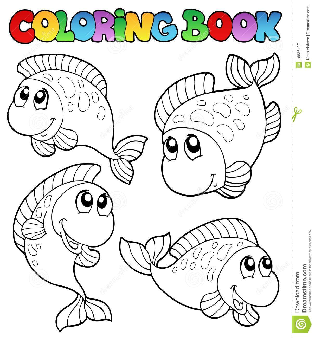 Coloring Book With Four Fishes Royalty Free Stock Colouring Book