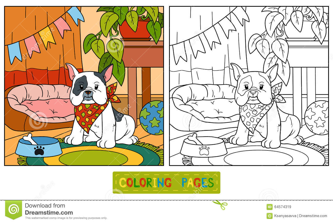 Coloring Book (french Bulldog And Background) Stock Vector ...