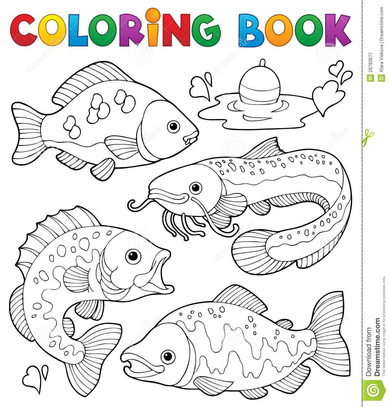 coloring book freshwater fishes 1 royalty free stock