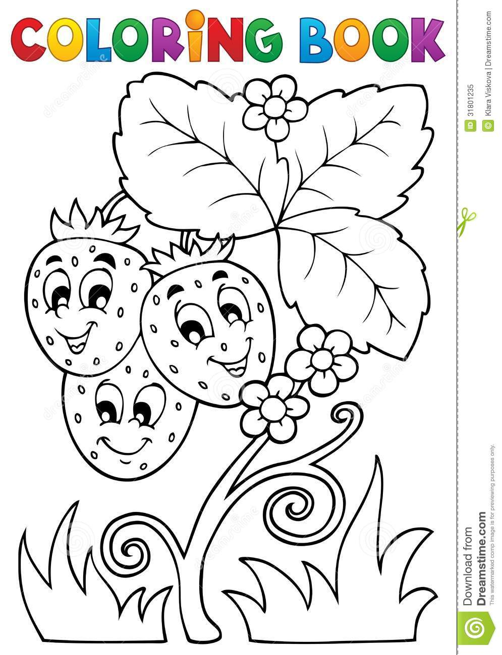 Coloring Book Fruit Theme 4 Stock Vector - Illustration of bloom ...