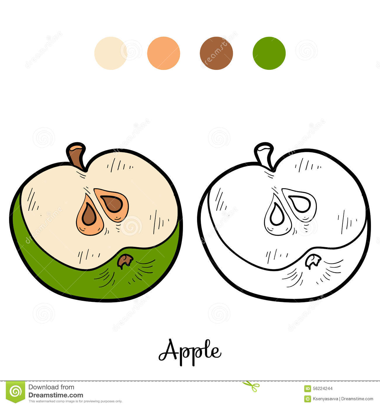 Coloring book, apple stock illustration. Illustration of child ...