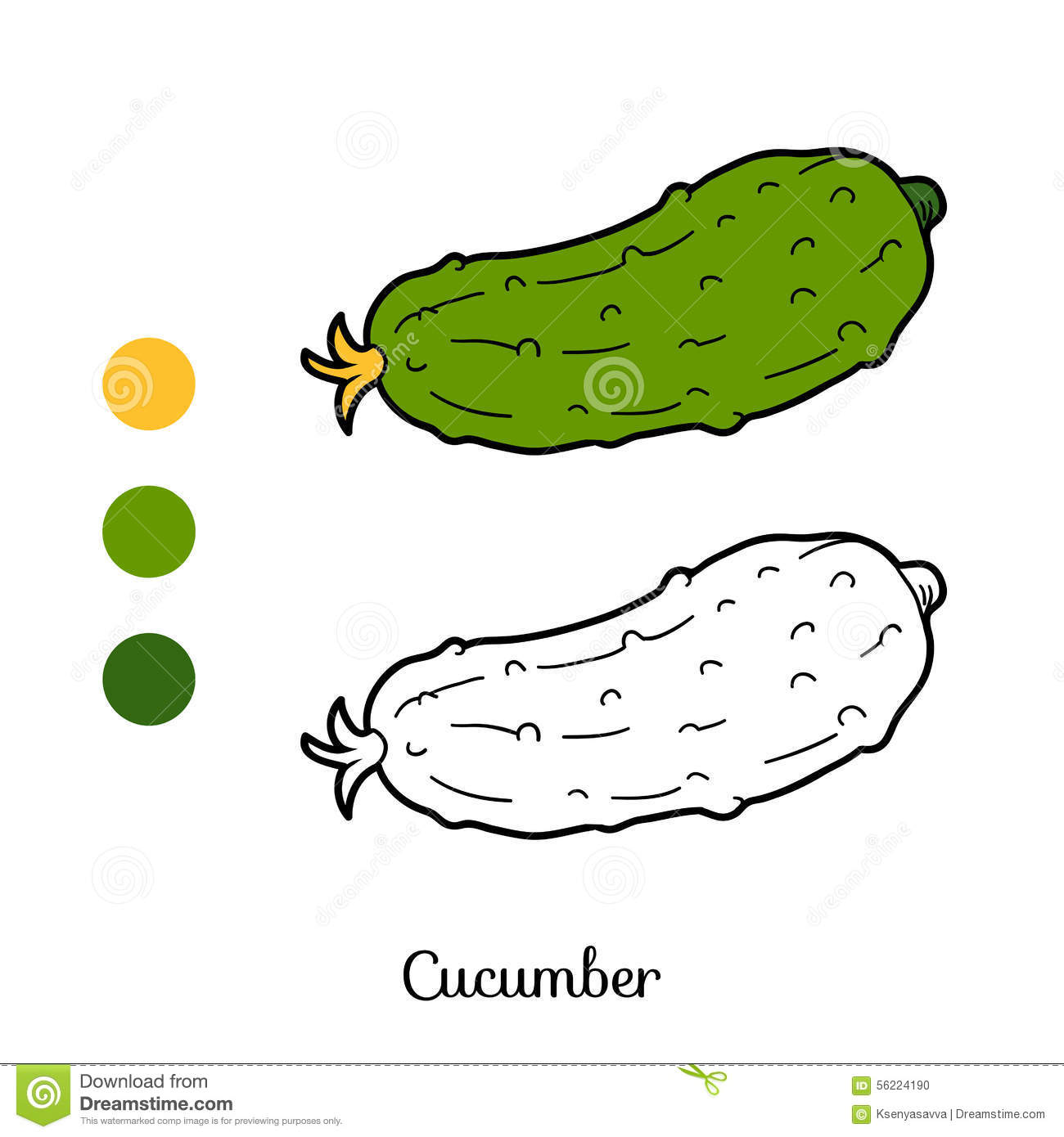 Coloring book pictures of vegetables - Coloring Book Fruits And Vegetables Cucumber Stock Photo