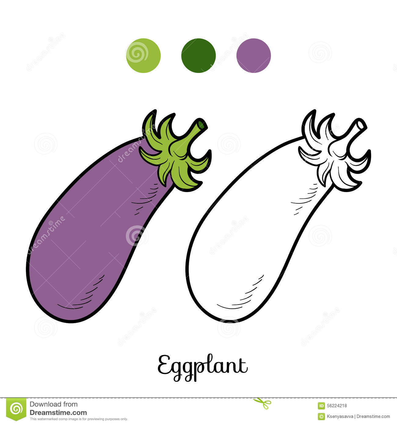 Coloring book pictures of vegetables - Coloring Book Fruits And Vegetables Eggplant