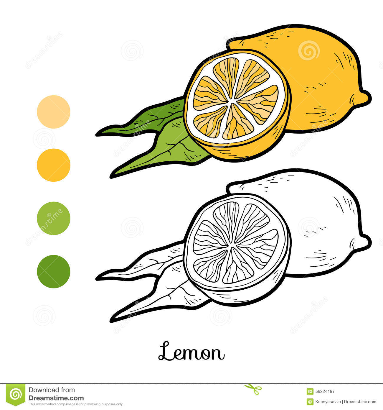 Coloring book pictures of vegetables - Coloring Book Fruits And Vegetables Lemon Royalty Free Stock Photography