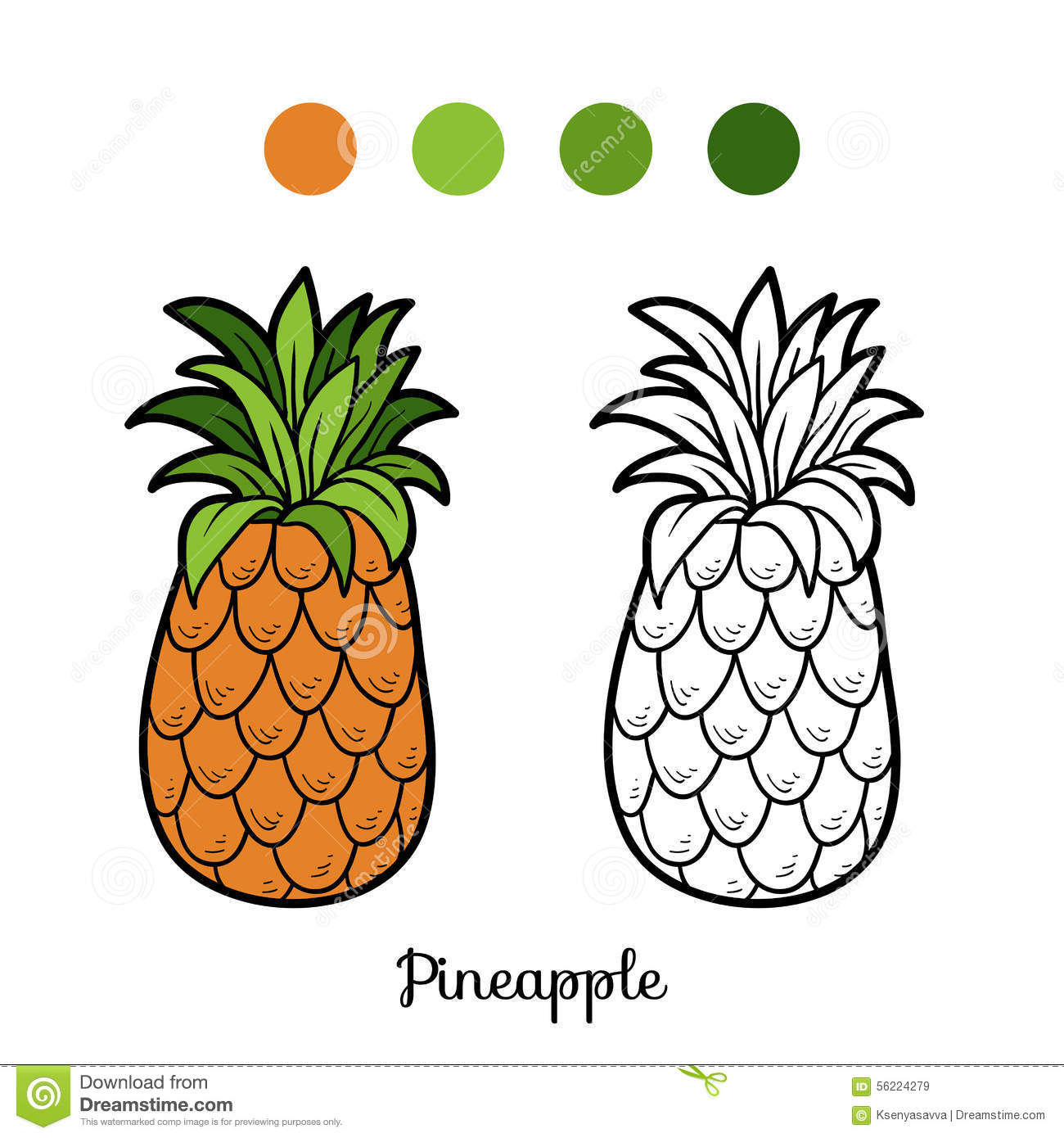 Coloring book pictures of vegetables - Coloring Book Fruits And Vegetables Pineapple