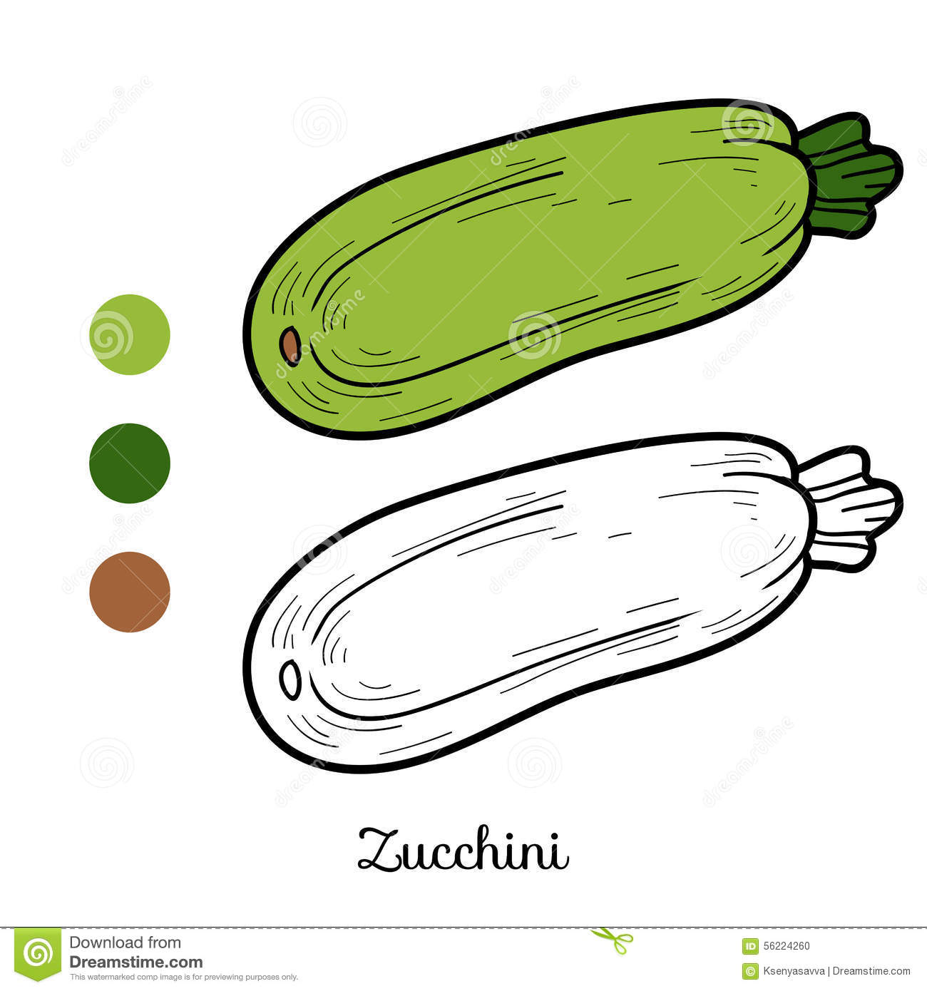 Coloring Book: Fruits And Vegetables (Zucchini) Illustration ...