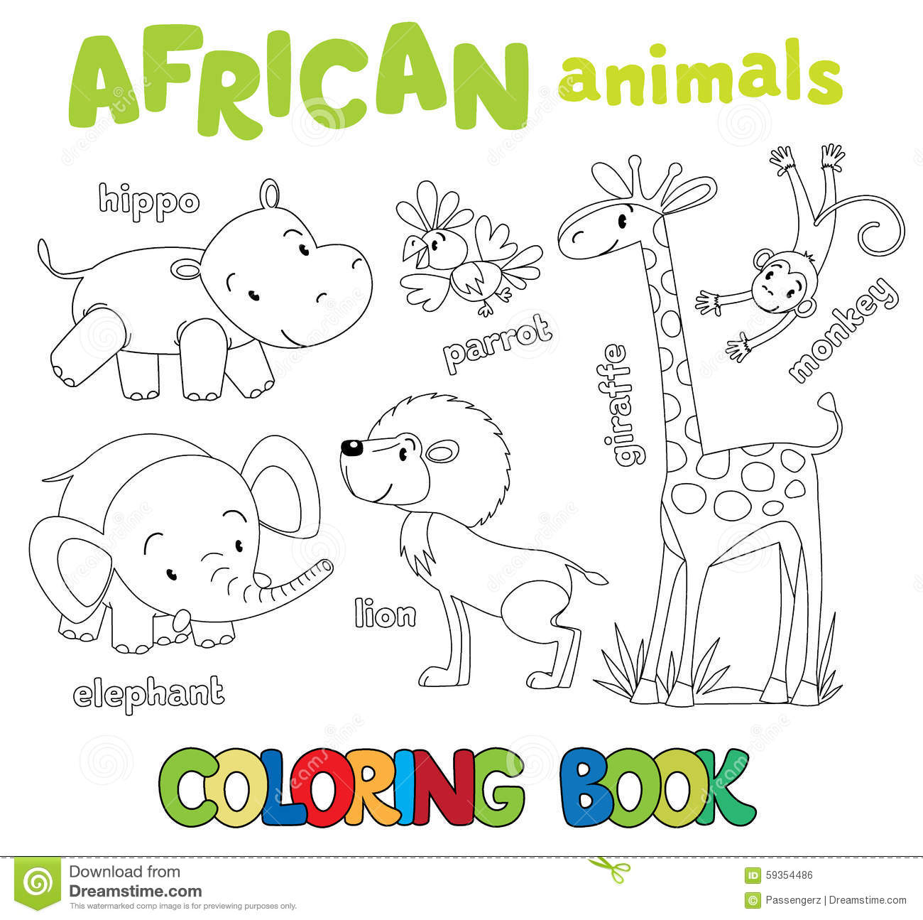 Coloring Book Of Funny African Animals Stock Vector