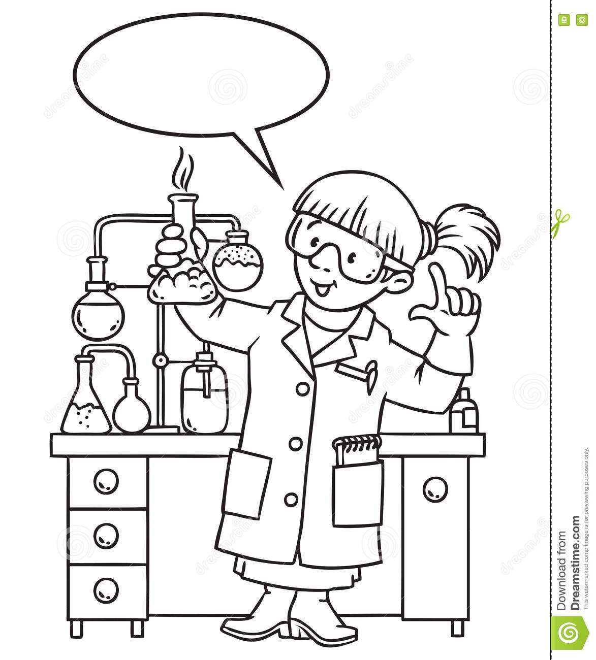 Coloring Book Of Funny Chemist Or Scientist Stock Vector ...