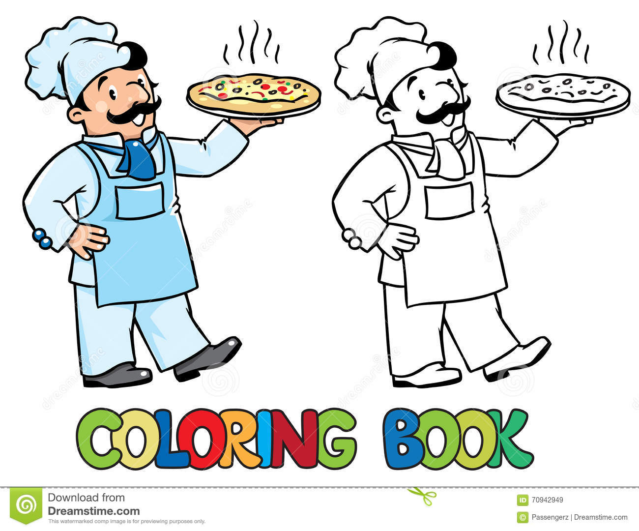 Italian Chef Coloring Book Cartoon Vector | CartoonDealer ...