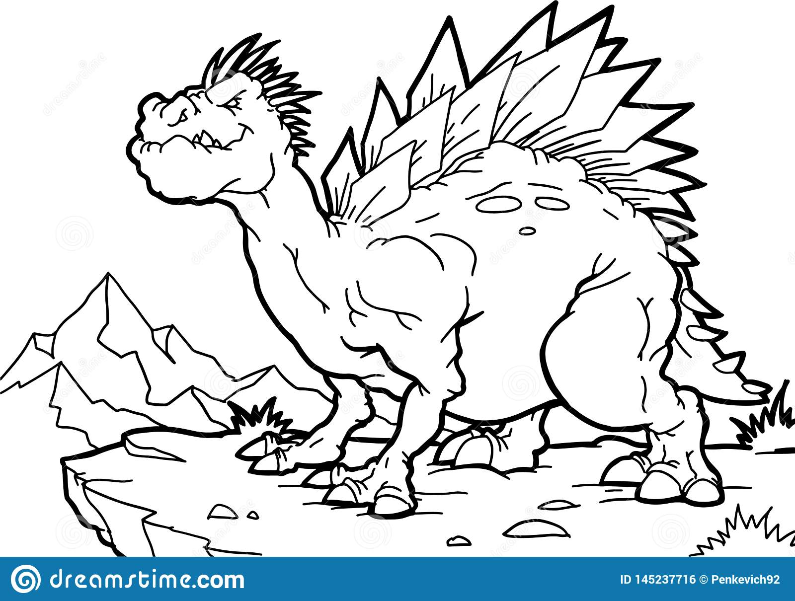 Coloring Book. Funny Dinosaur In A Prehistoric Landscape ...