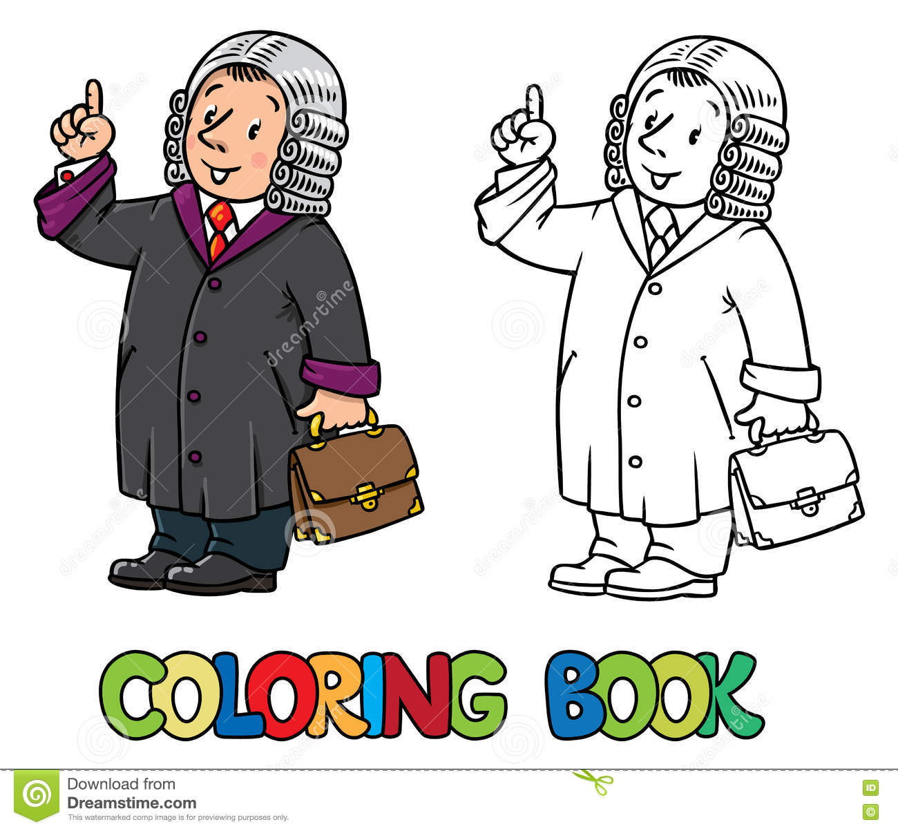 Coloring Book Of Funny Judge Stock Vector - Image: 79932280