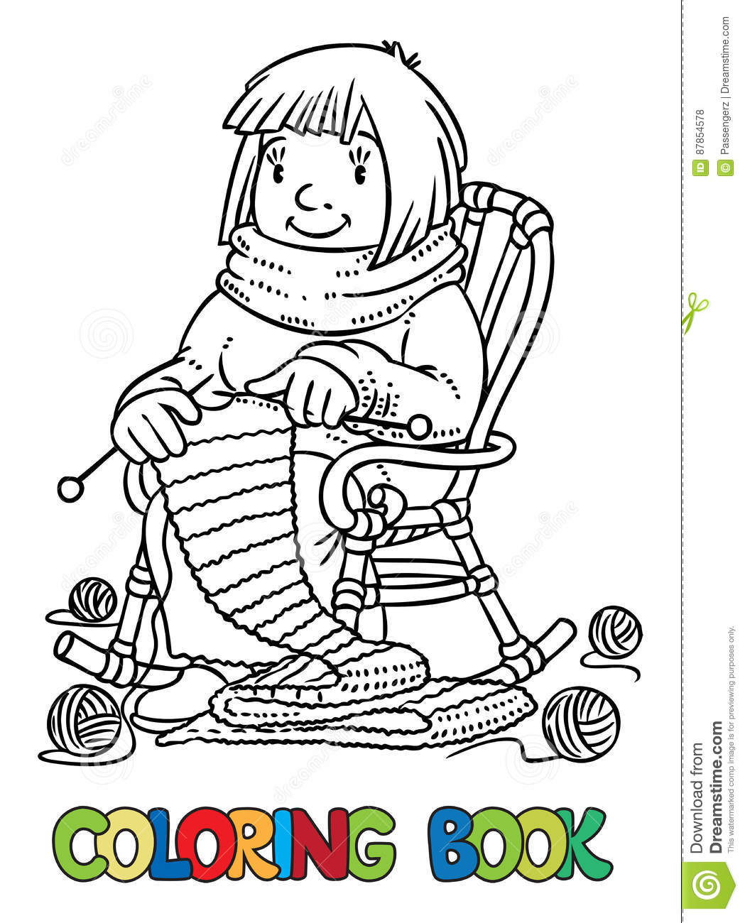 Coloring Book With Funny Knitter Women. Stock Vector - Illustration ...