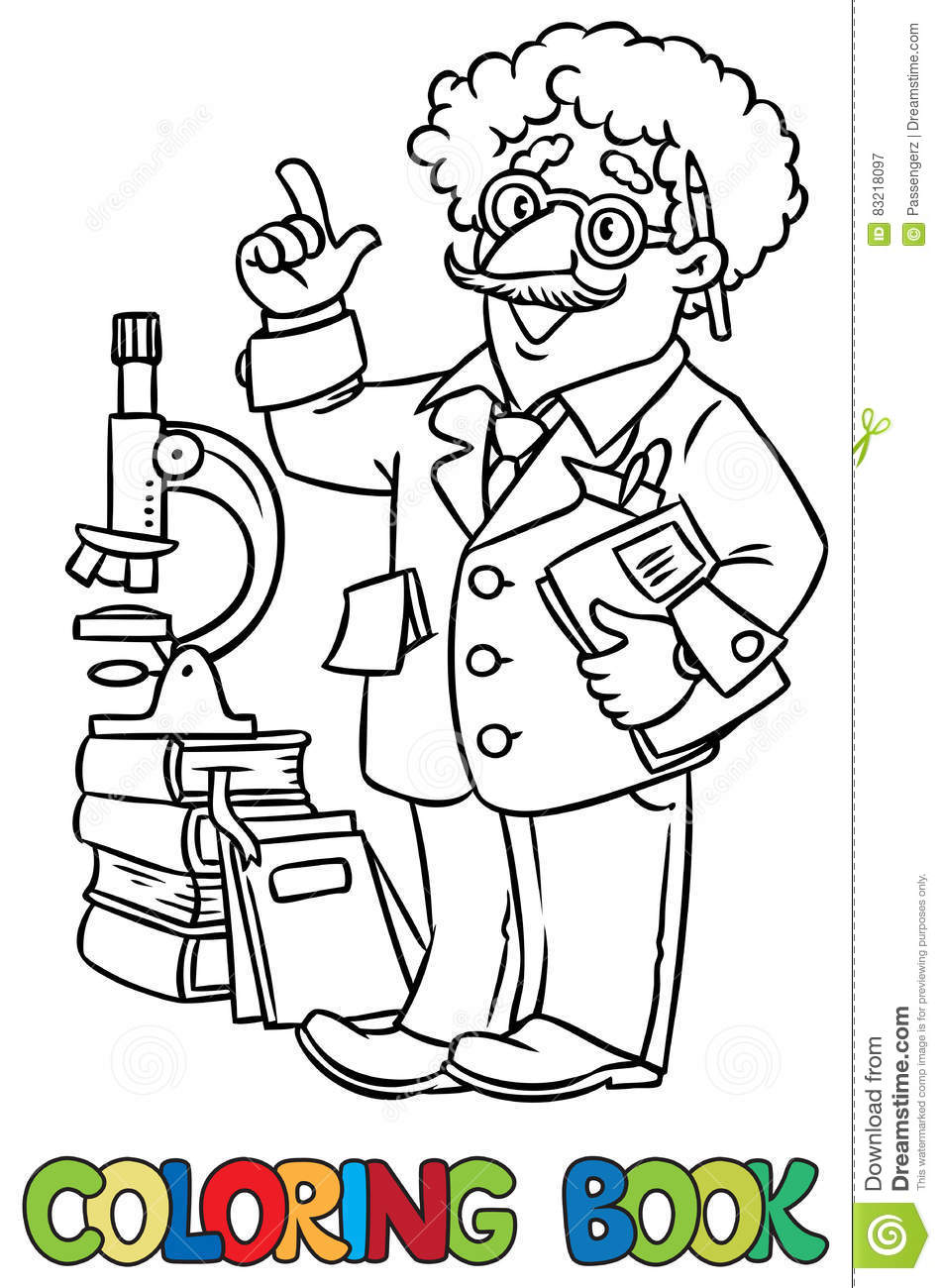 Coloring Book Of Funny Scientist Or Inventor Stock Vector