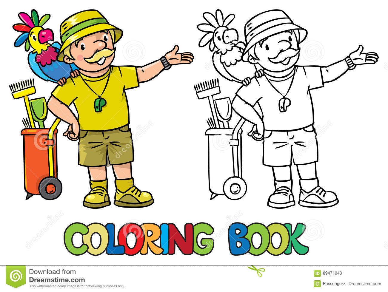 The zoology coloring book - Coloring Book Of Funny Zoo Keeper With Parrot Stock Photos