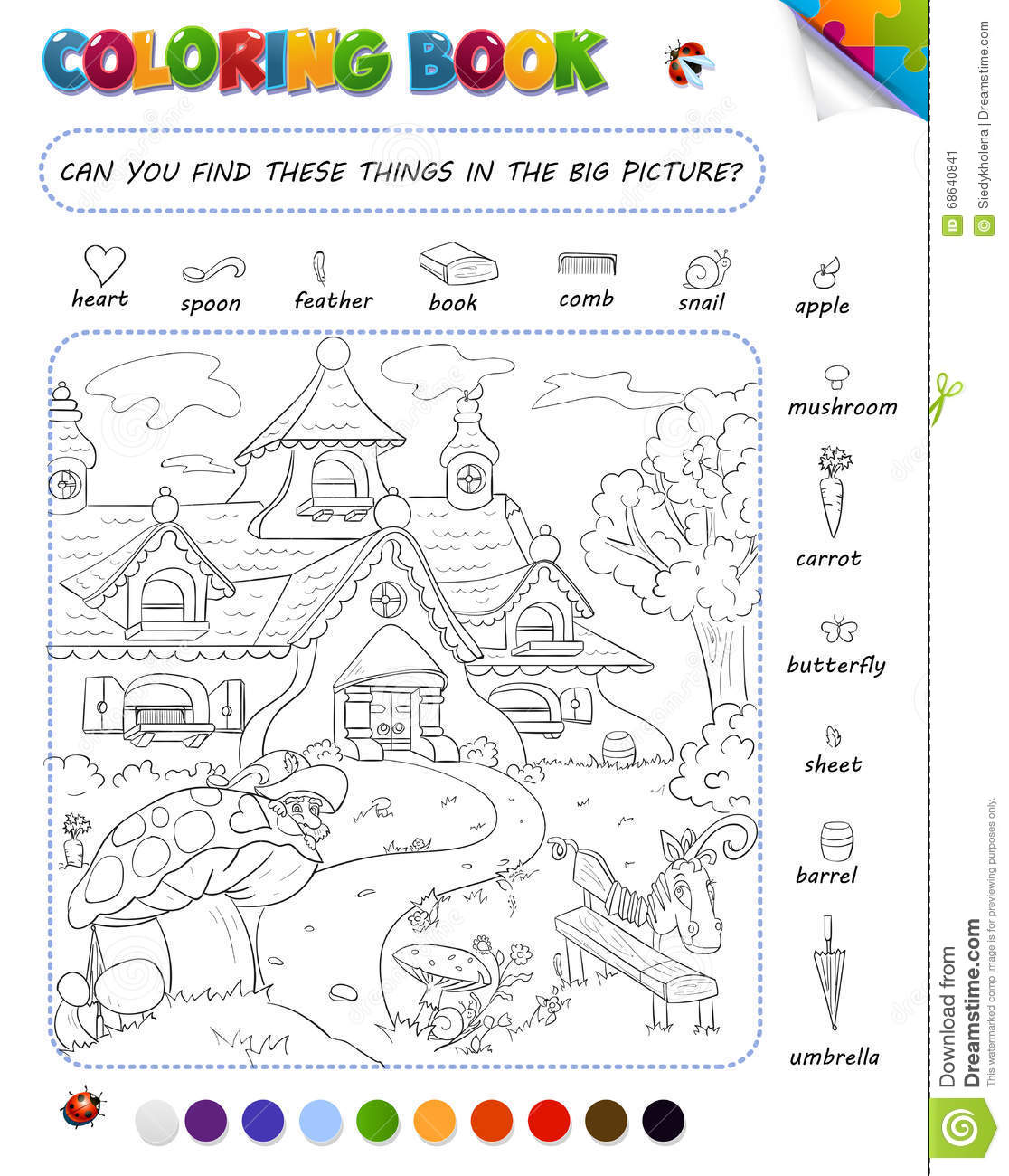Coloring Book Game For Kids Stock Illustration