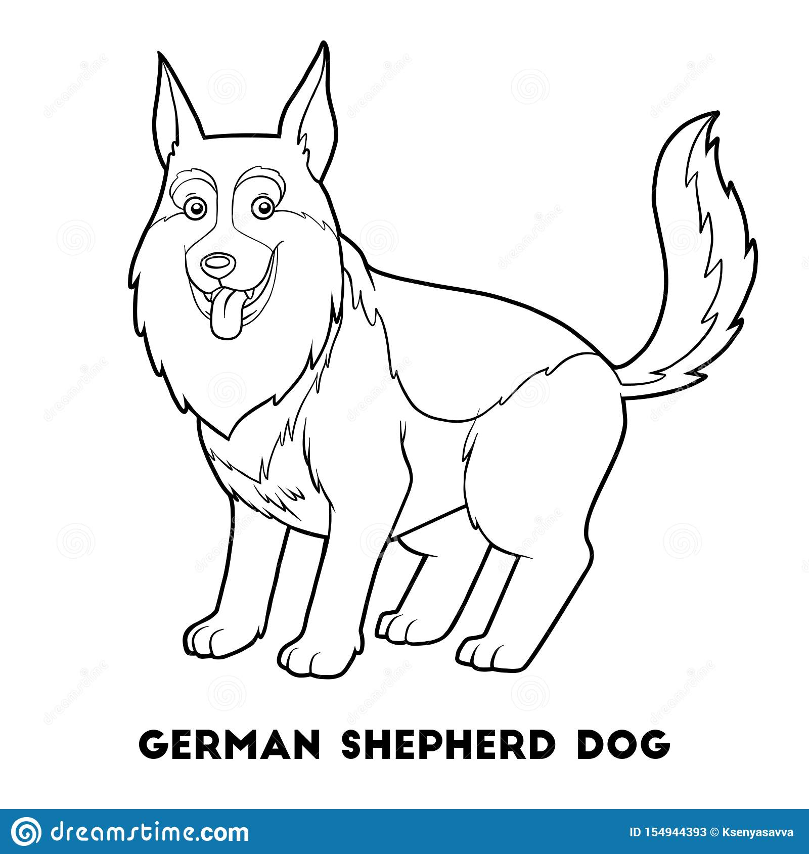 Coloring Book German Shepherd Dog Stock Vector Illustration Of Page Colorful 154944393