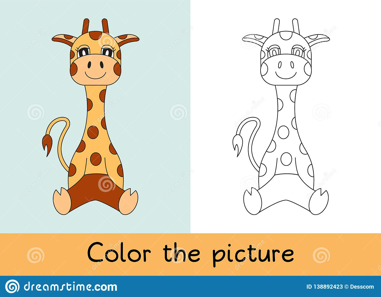 Coloring book. Giraffe. Cartoon animall. Kids game. Color picture. Learning by playing. Task for children