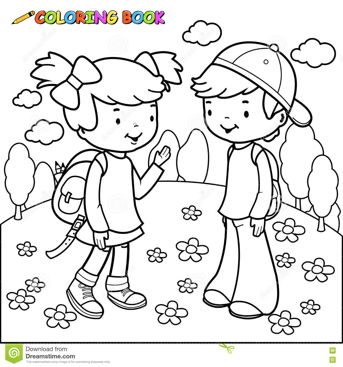 Little Girl And Little Boy Coloring Page - Free Printable Coloring ... | 1390x1300