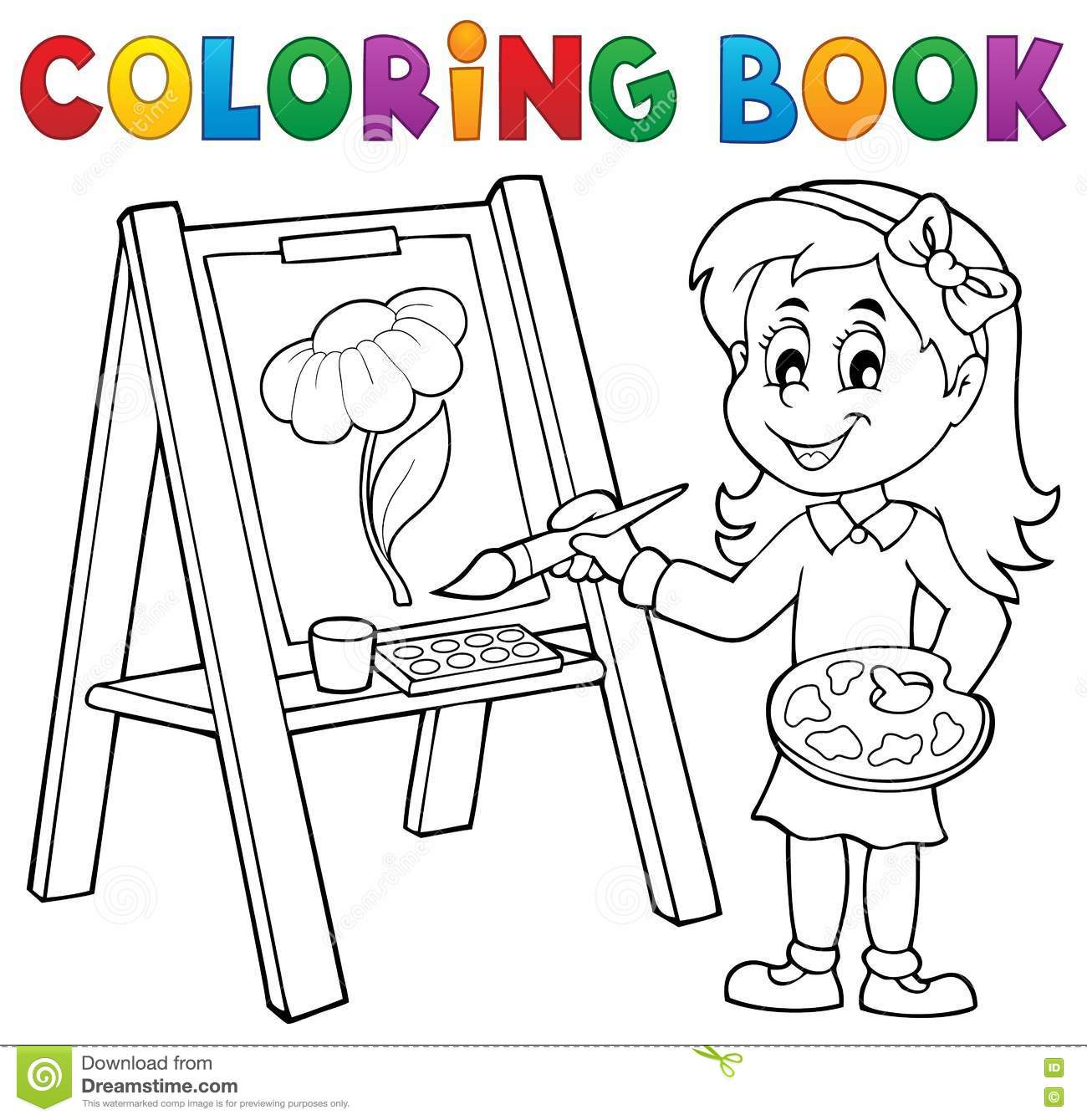 Coloring Book Girl Painting On Canvas Stock Vector - Illustration of ...