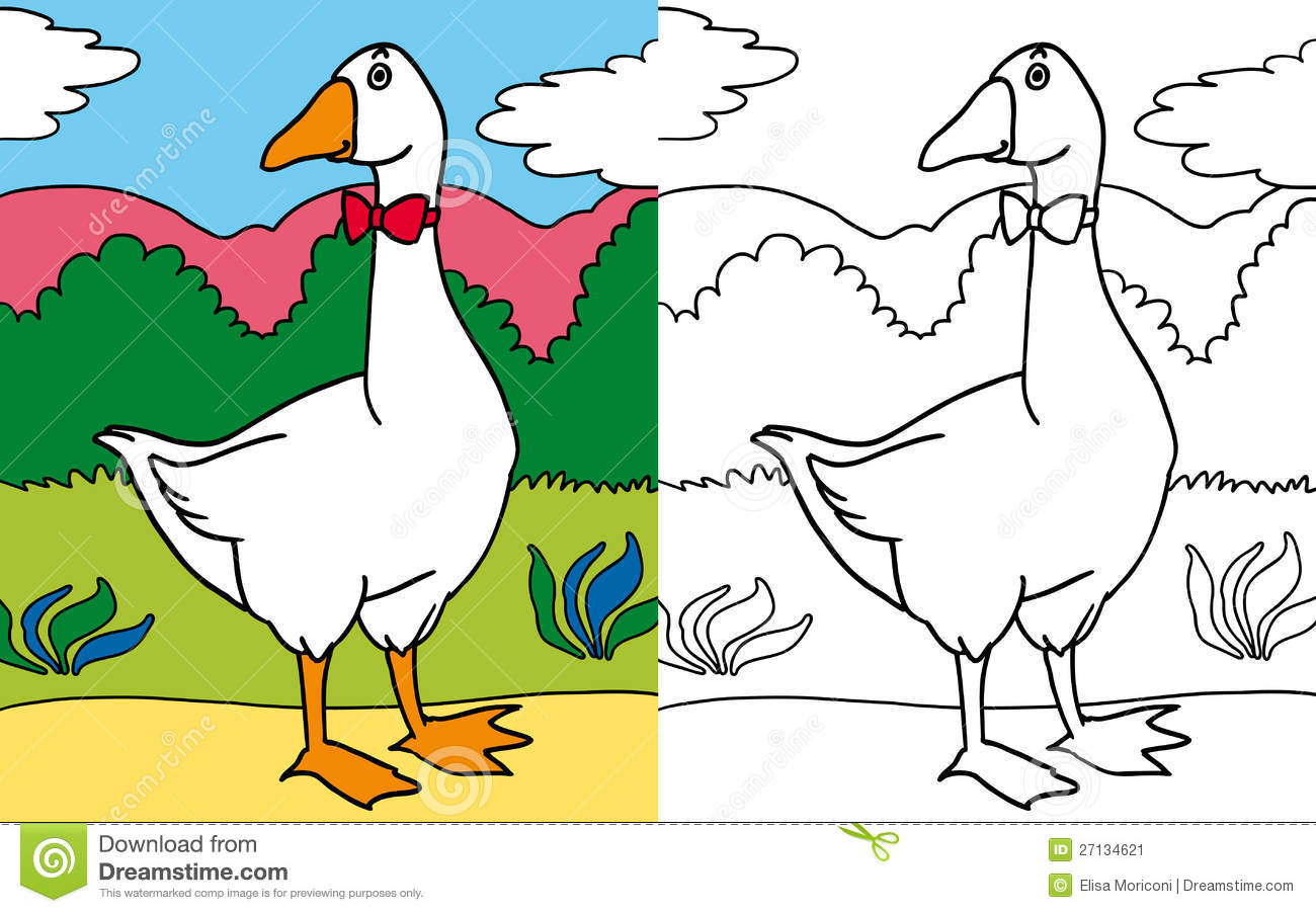 Coloring book goose stock illustration. Illustration of funny - 27134621