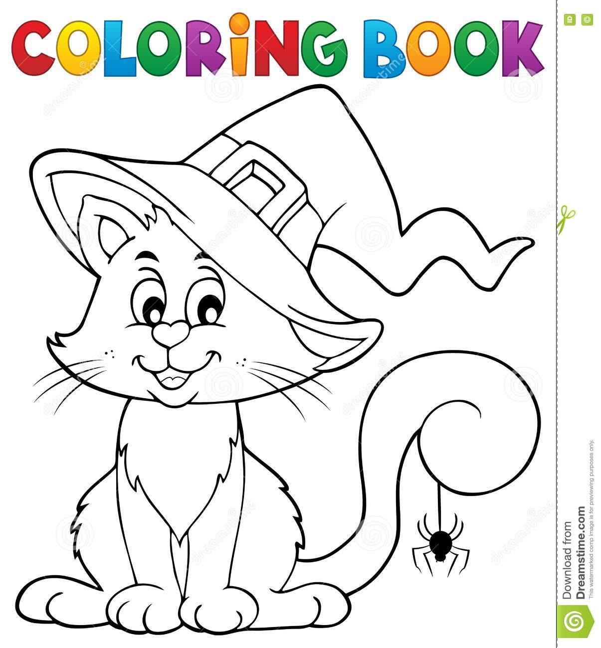 Book Cat Coloring Eps10 Halloween