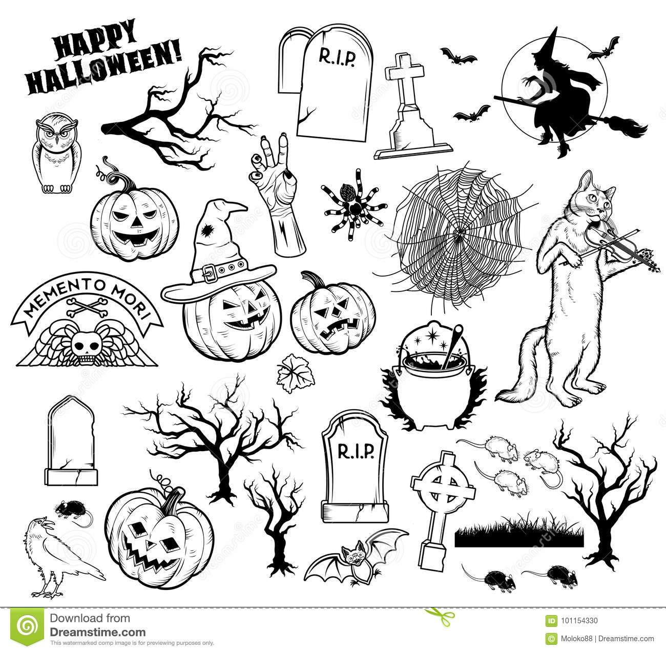 coloring book halloween characters vector illustration. Black Bedroom Furniture Sets. Home Design Ideas
