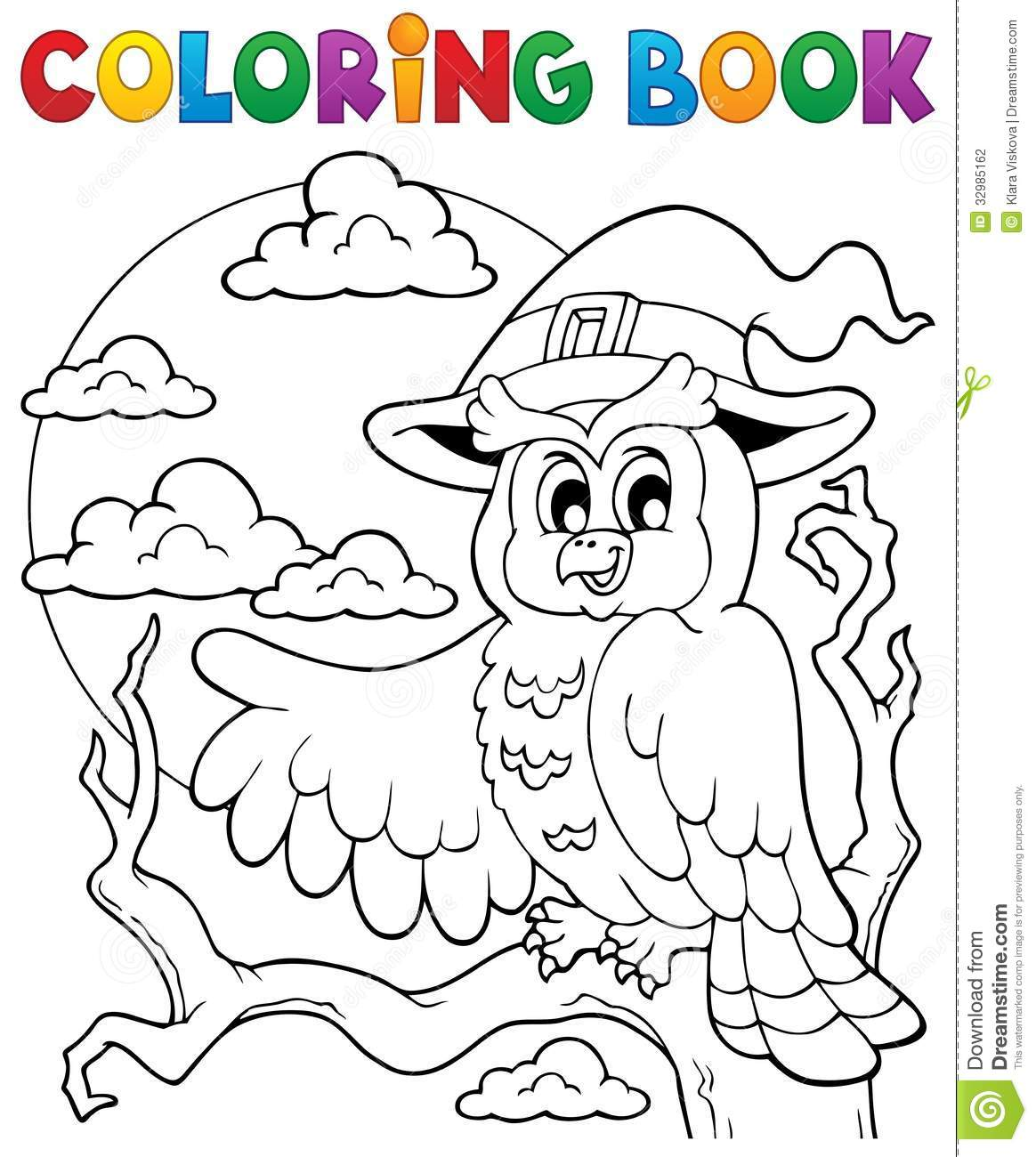 coloring book halloween owl 1 stock photography image 32985162