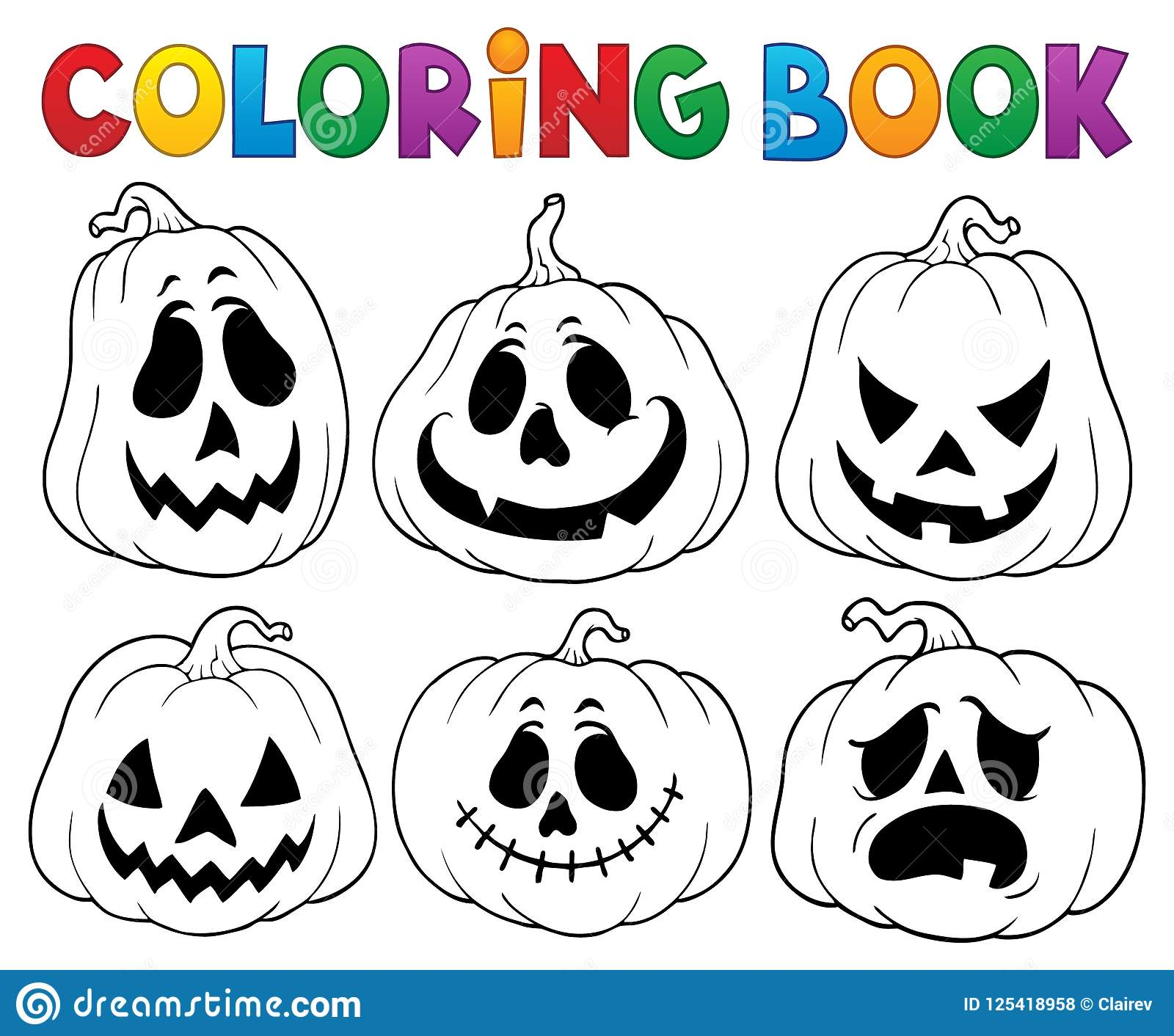 Coloring book with Halloween pumpkins 3