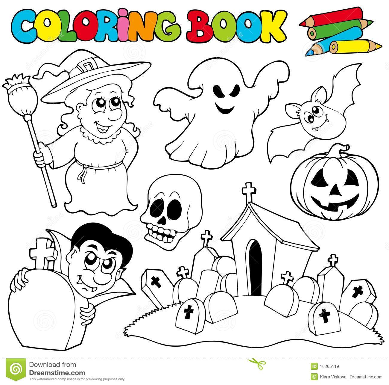 Royalty Free Stock Photo Download Coloring Book With Halloween