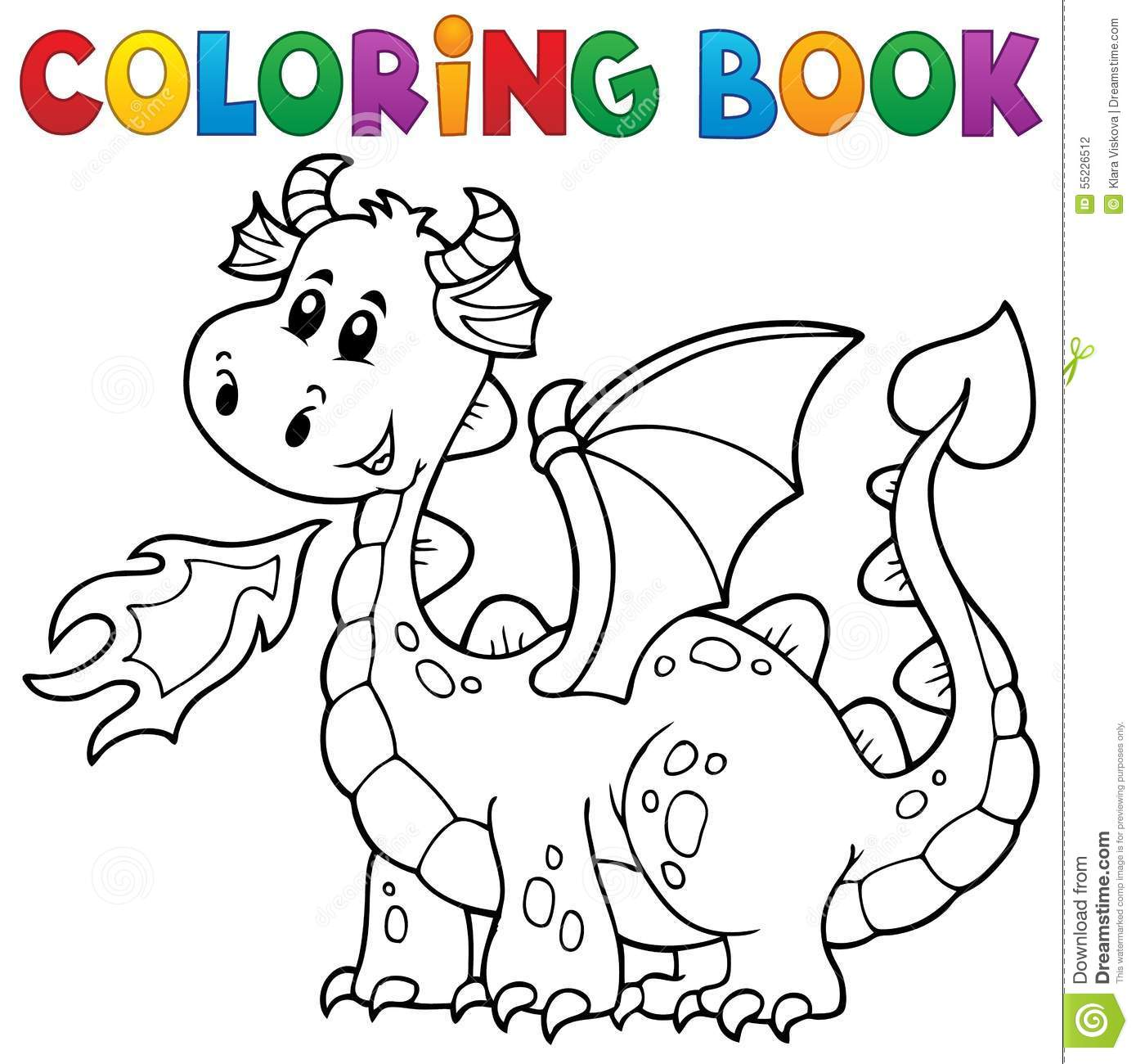 Coloring Book With Happy Dragon Royalty Free Vector