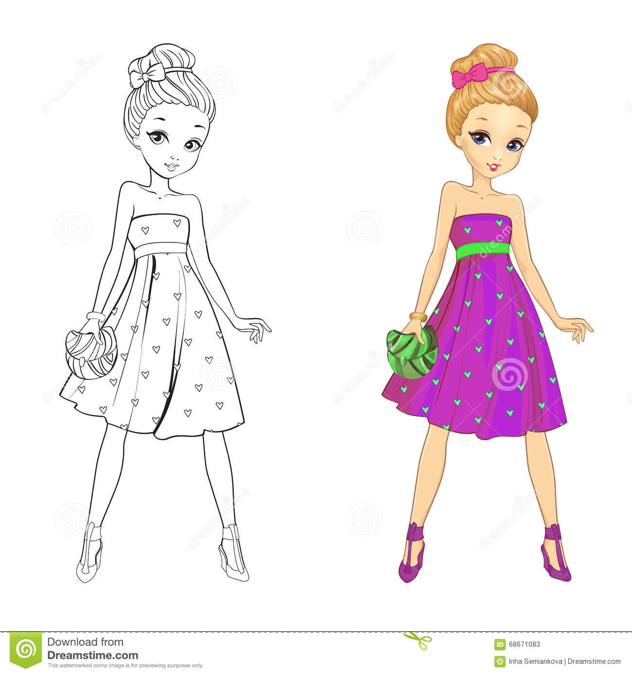 Coloring Book Of Heart Girl Stock Vector - Illustration of beautiful ...