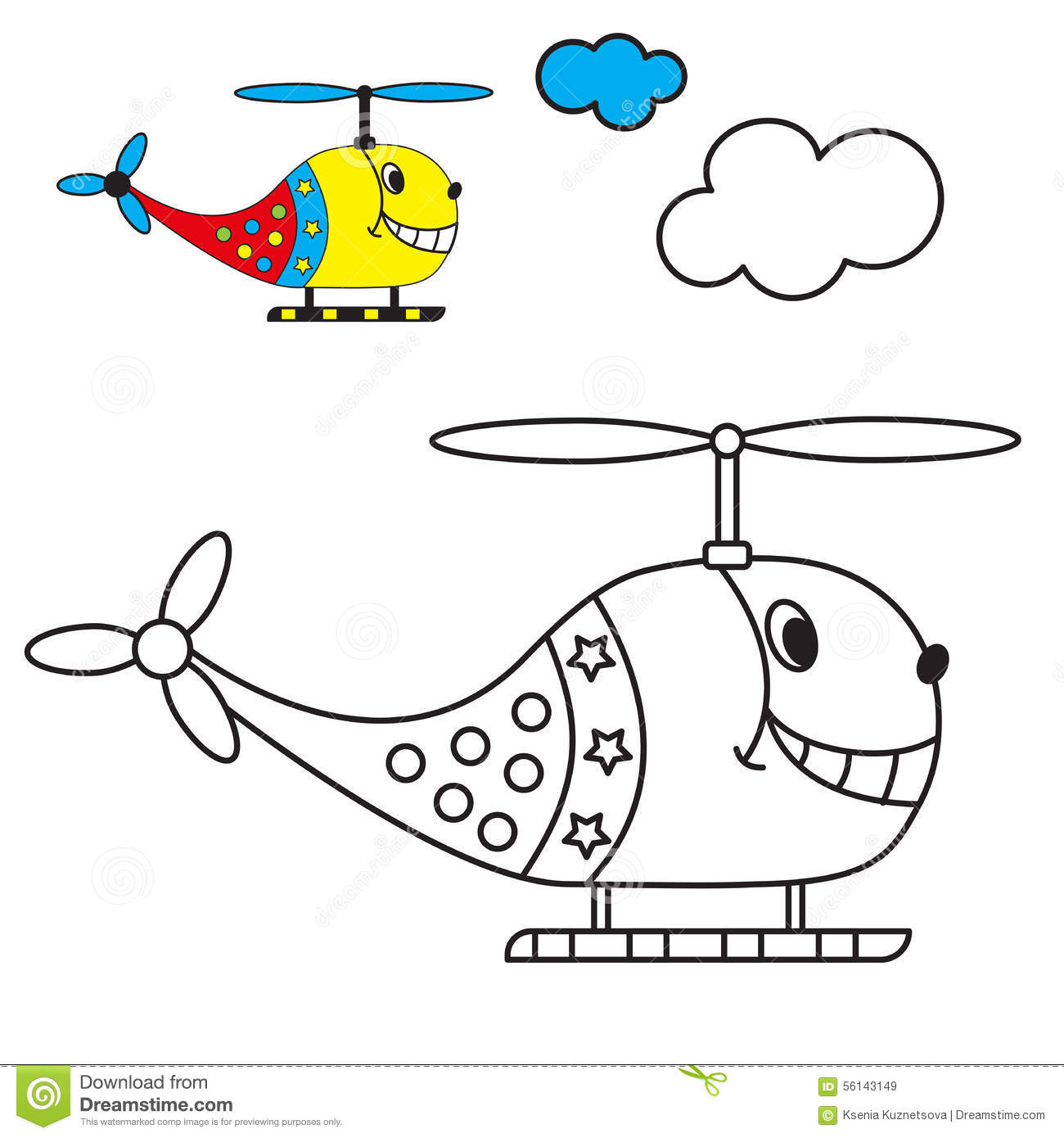 Coloring Book The Helicopter In The Sky With Stock Vector - Image: 56143149