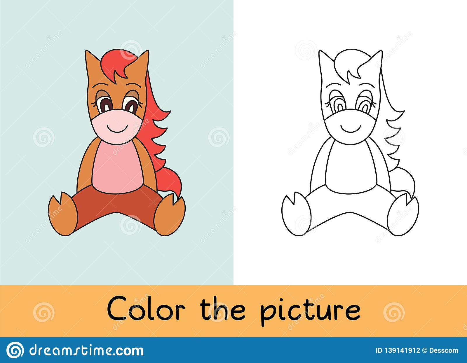 Coloring book. Horse. Cartoon animall. Kids game. Color picture. Learning by playing. Task for children