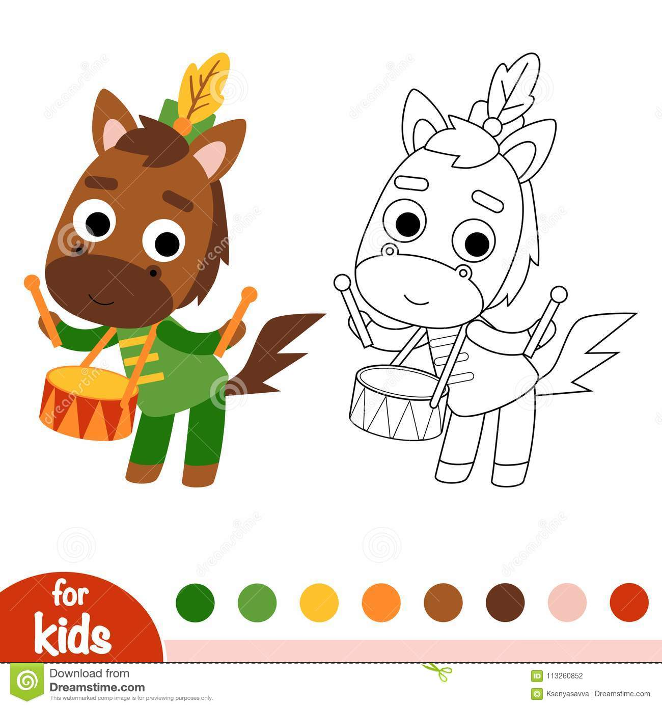 Coloring Book Horse Drummer Royalty Free Vector Download