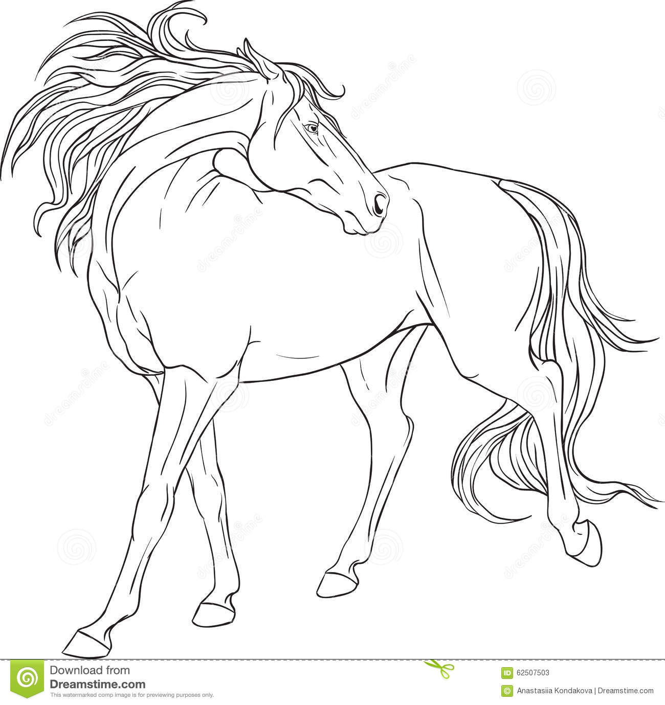 coloring book with a horse stock vector image 62507503