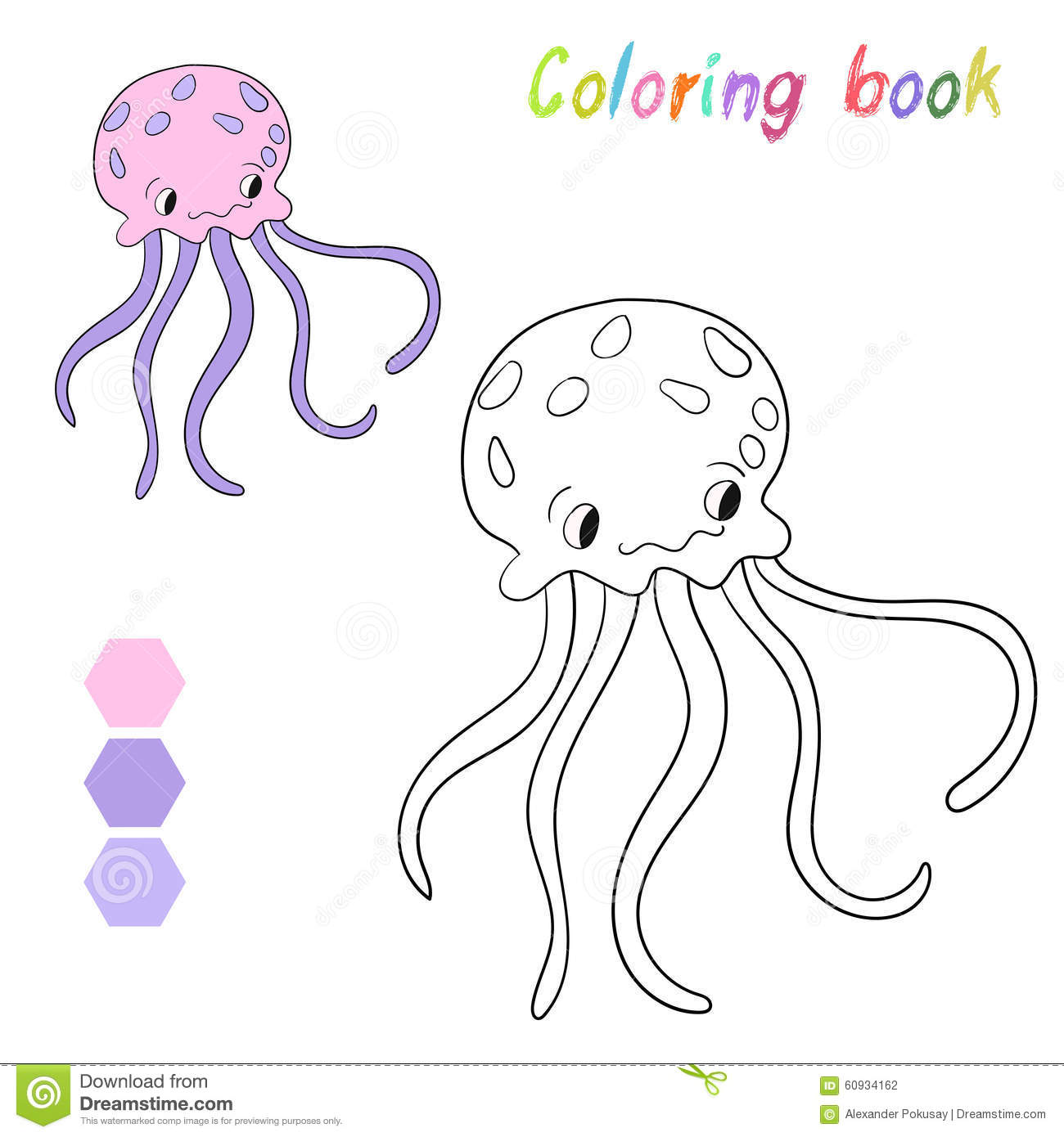 Coloring Book Jellyfish Kids Layout For Game Stock Vector