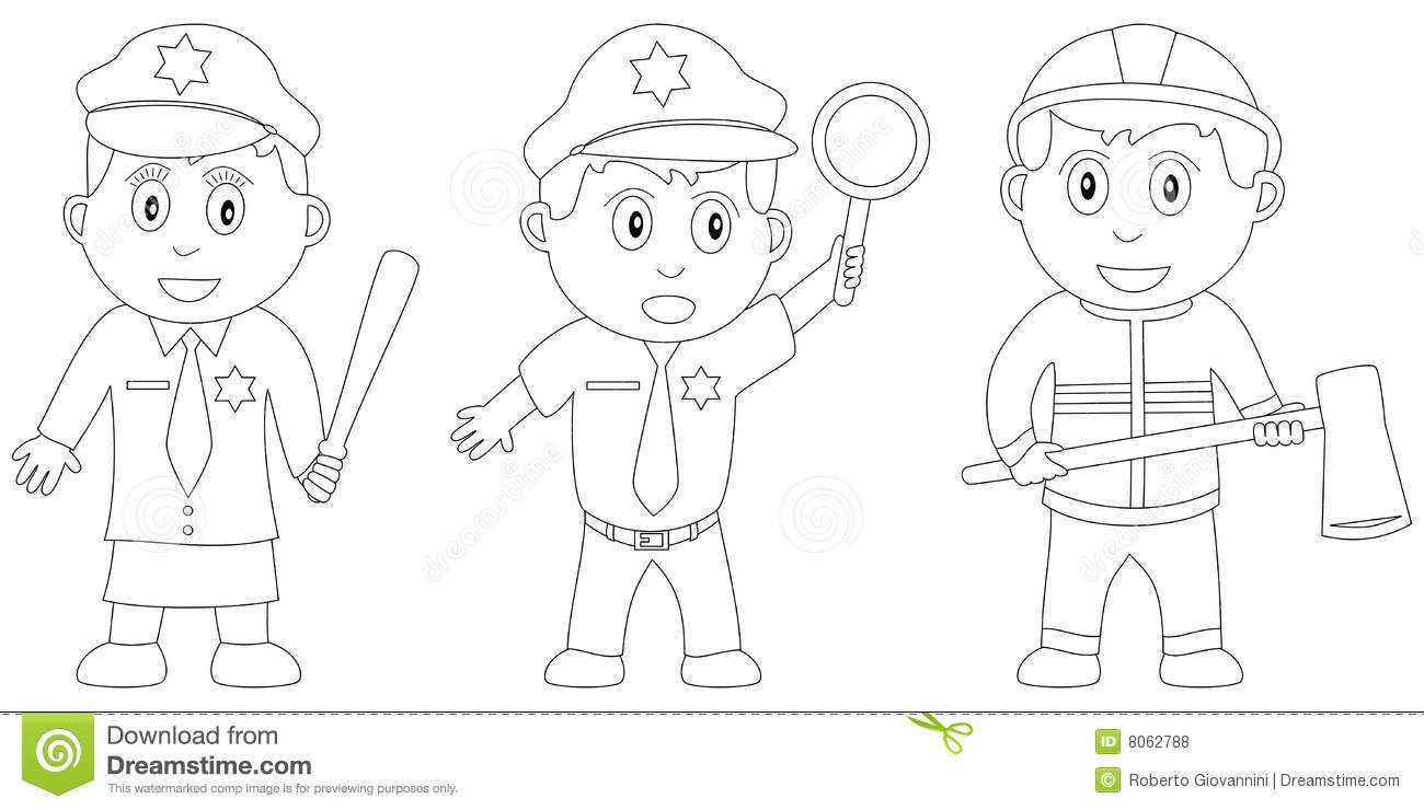 fireman and policeman coloring pages - photo #50