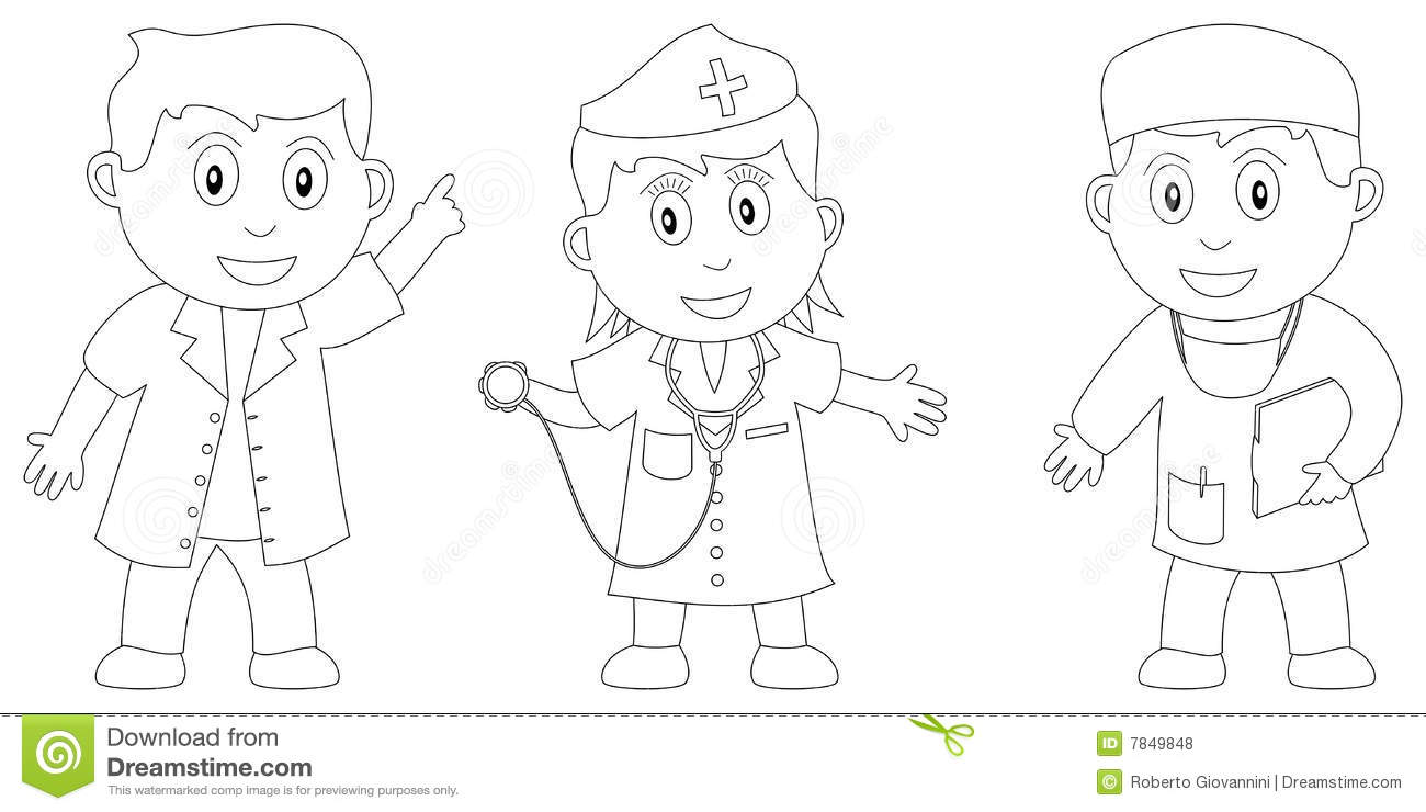 Colouring Pages Doctors And Nurses Coloring Book For Kids Royalty Free Stock Photos