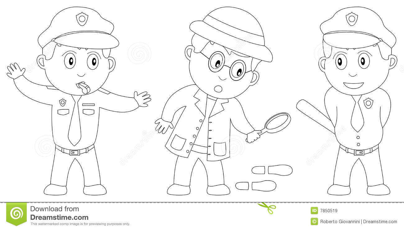 Funny Guard Clip Art: Coloring Book For Kids [8] Royalty Free Stock Images