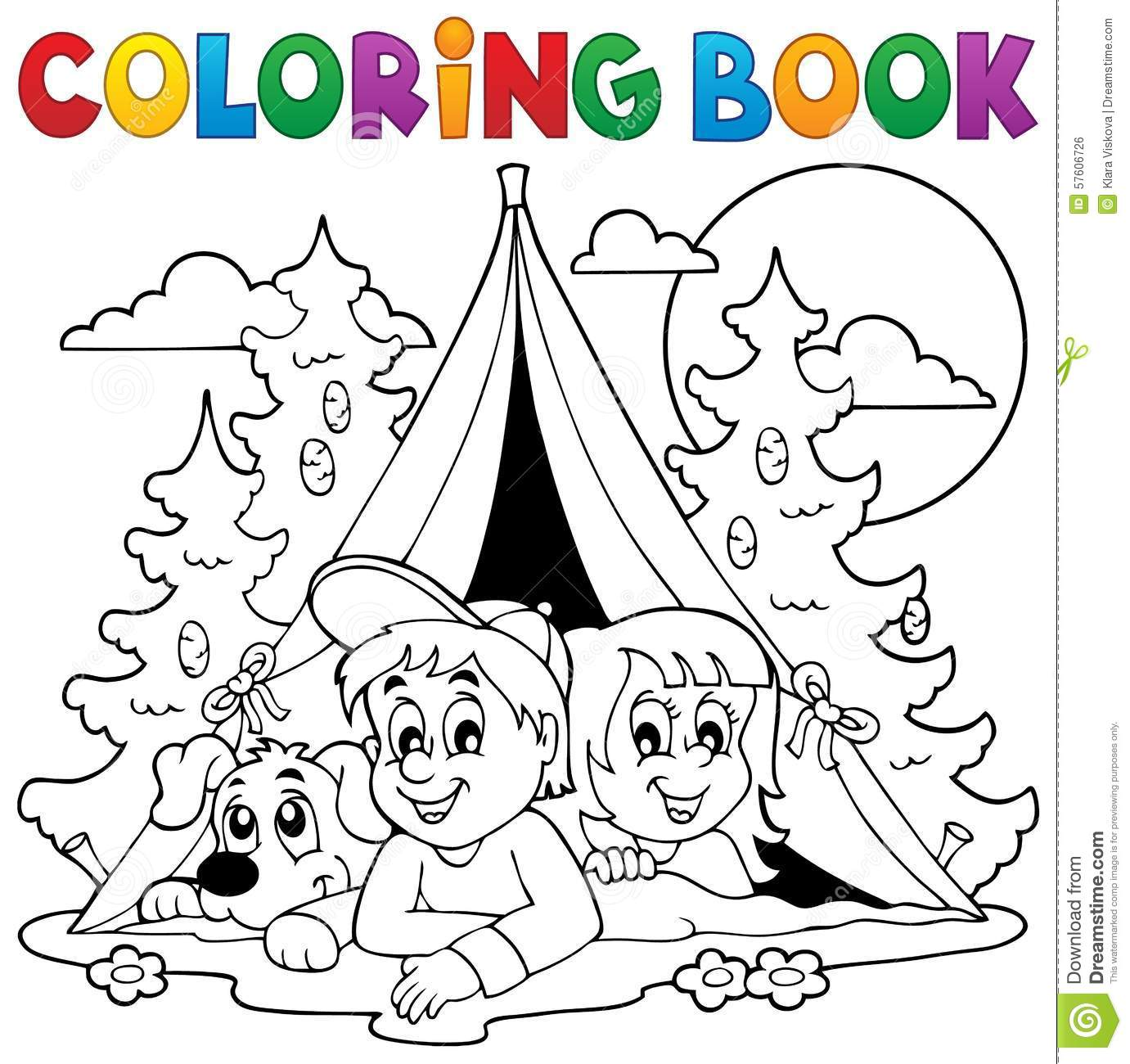 coloring book kids camping in forest stock vector image 57606726. Black Bedroom Furniture Sets. Home Design Ideas