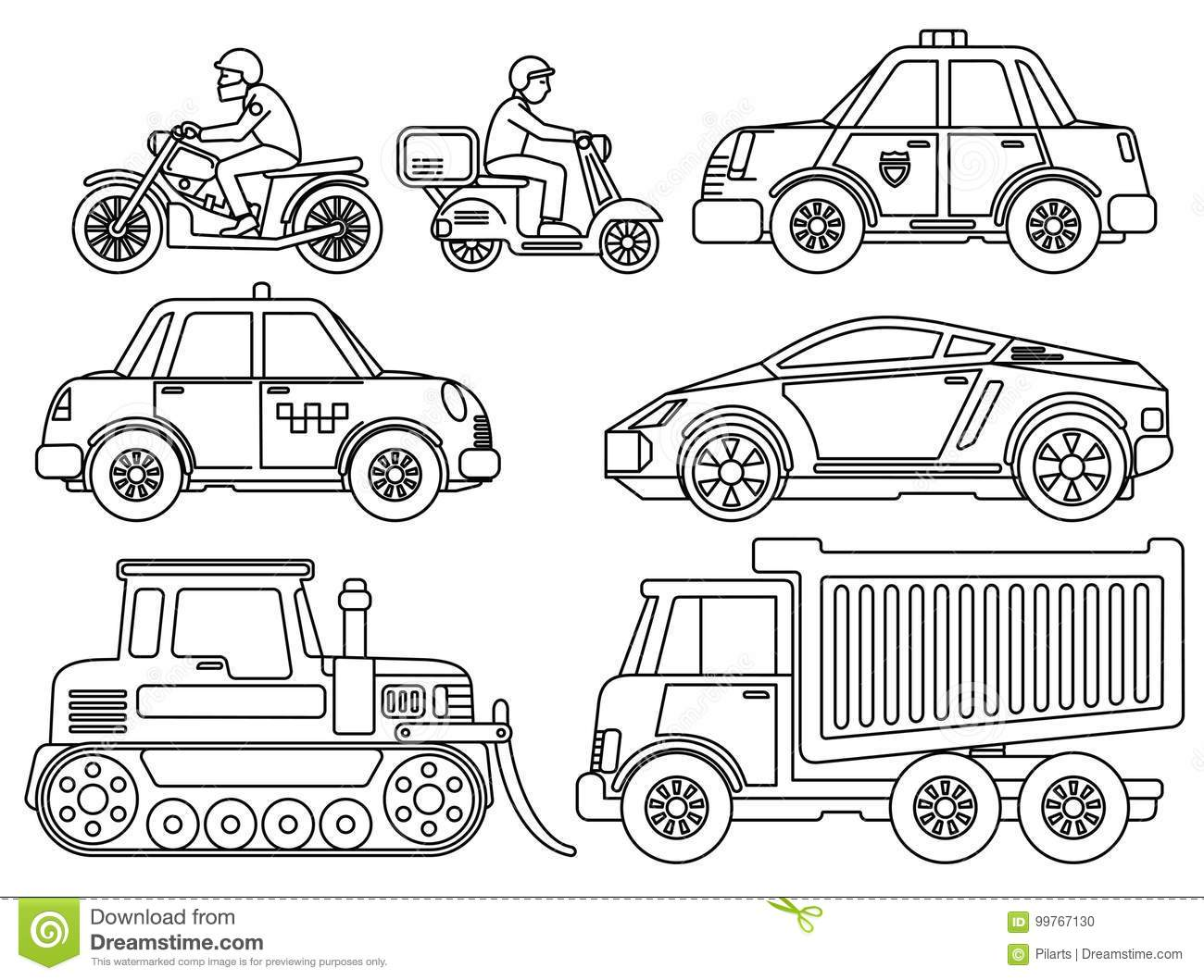 Coloring Book For Kids Cartoon Transport Stock Vector Illustration