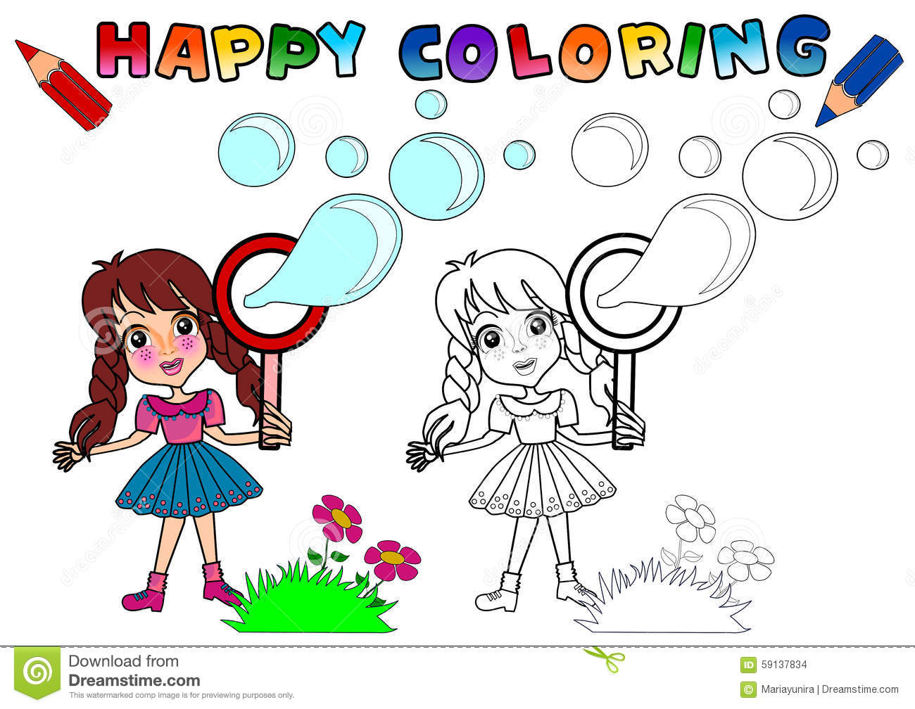 Coloring Book for kids stock illustration. Illustration of beautiful ...