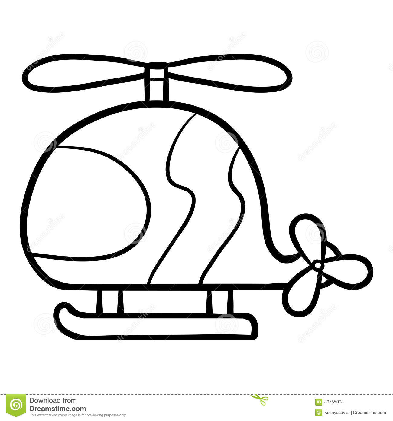 coloring book for kids helicopter stock vector image 89755008