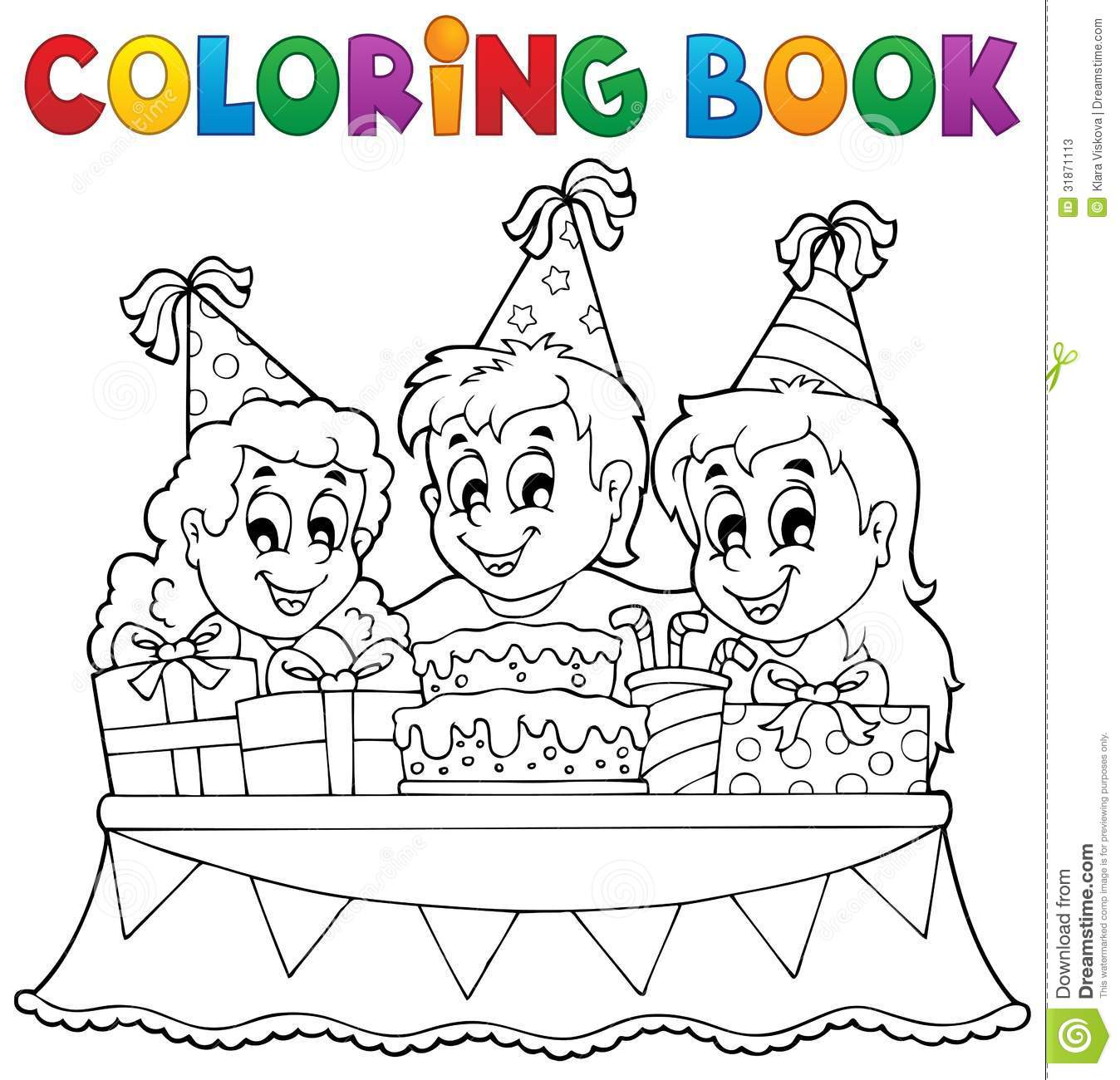 coloring book kids party theme 1 stock photos