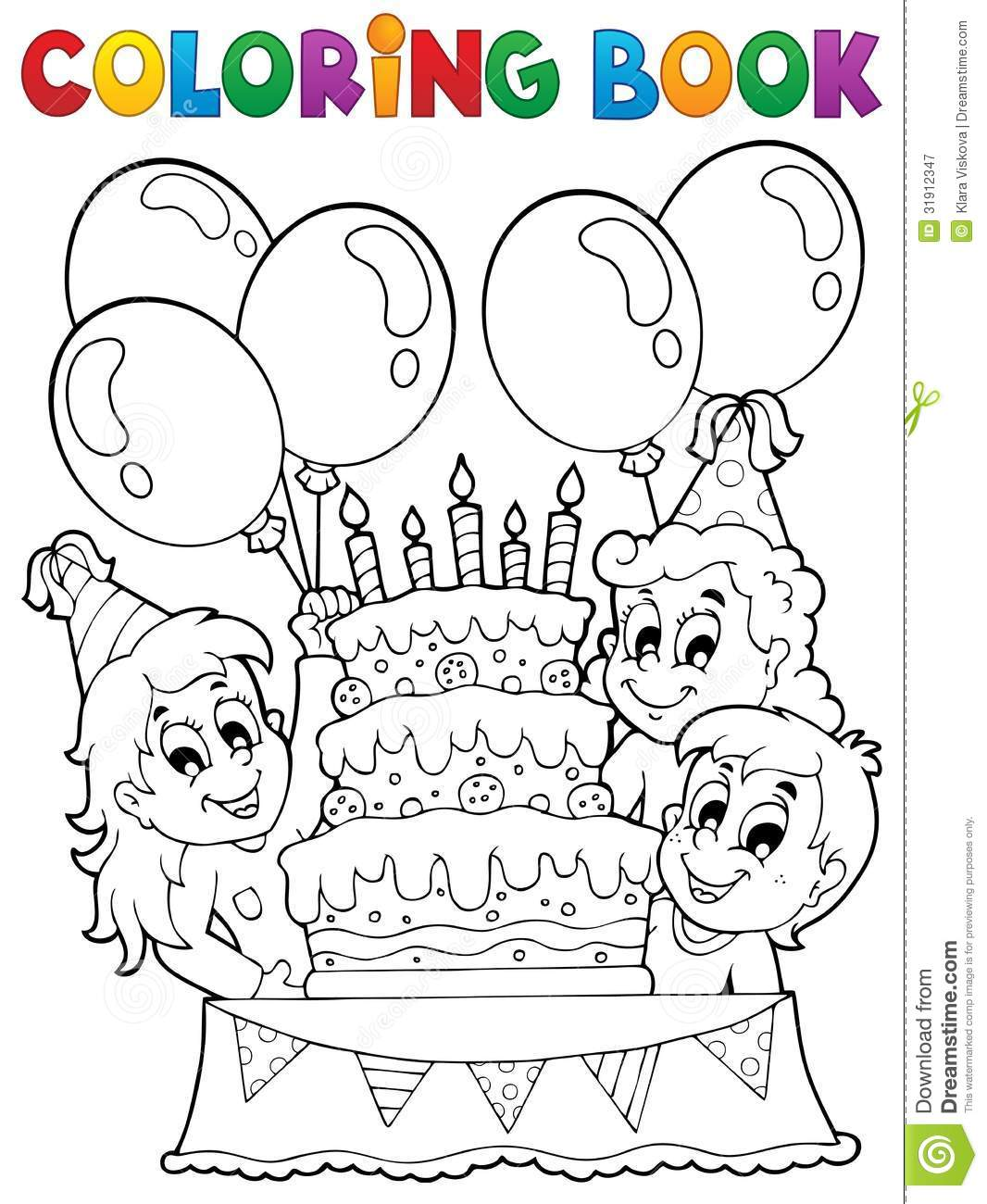 coloring book kids party theme 2 royalty free stock photography - Children Drawing Book Free Download