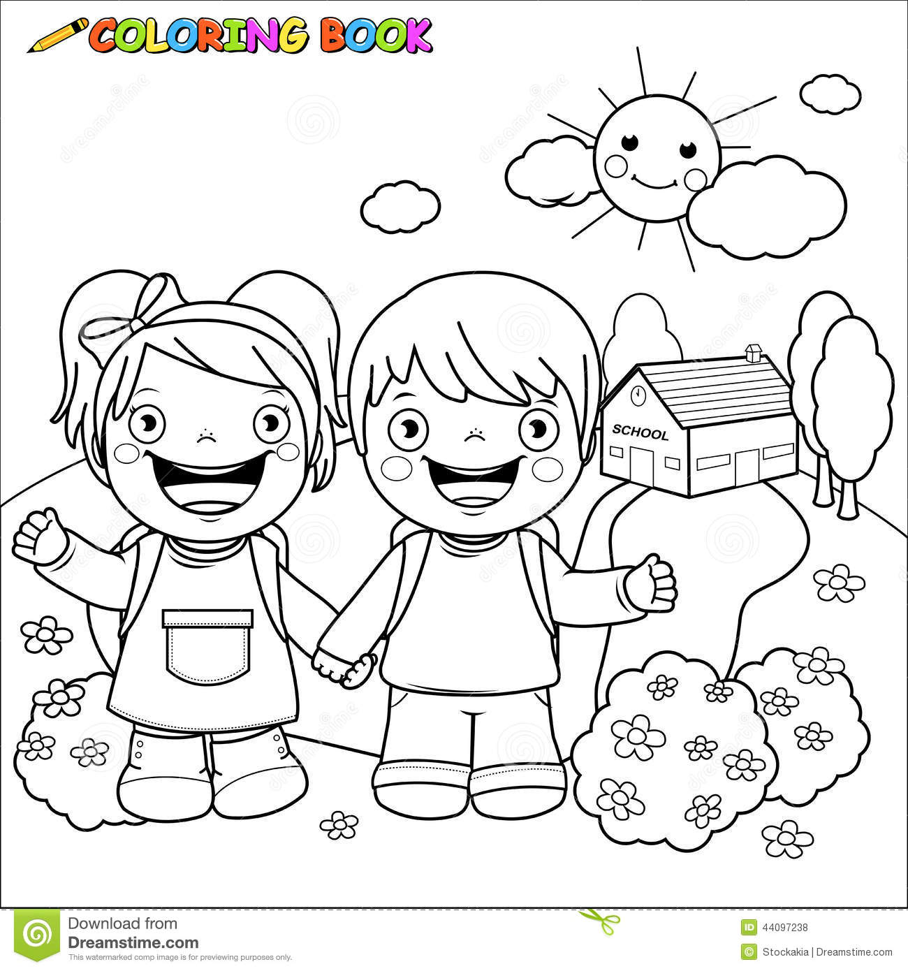 Coloring book school - Black Book Boy Coloring