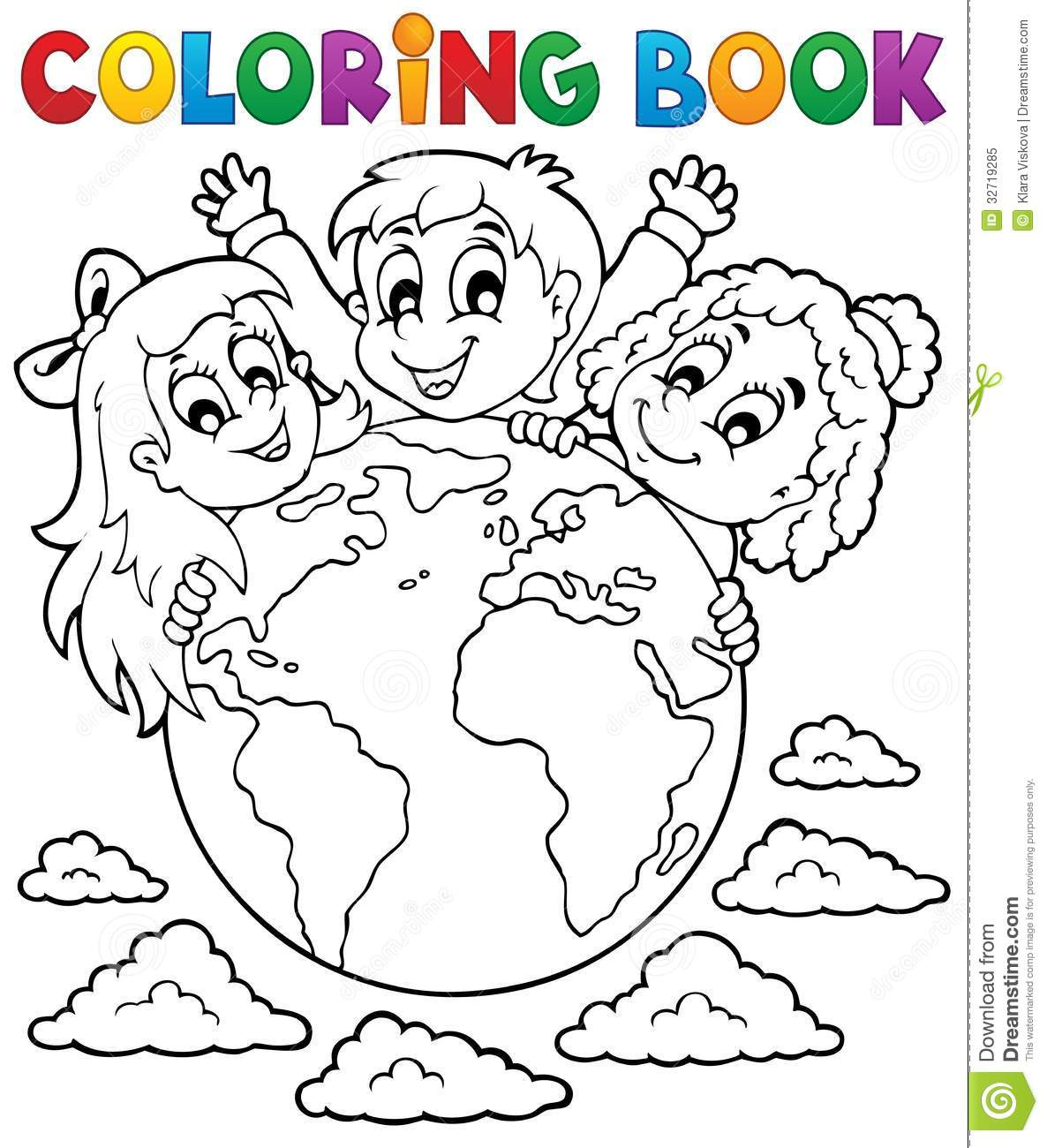 Coloring book kids theme 2 stock vector. Illustration of girl - 32719285