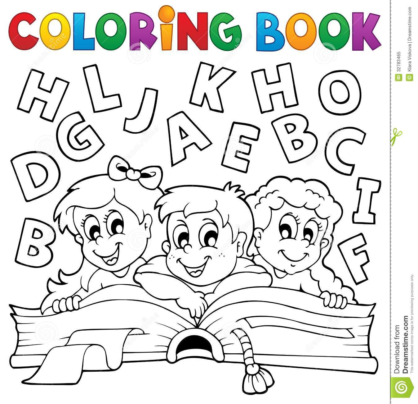 - Coloring Book Kids Theme 5 Stock Vector. Illustration Of Girl